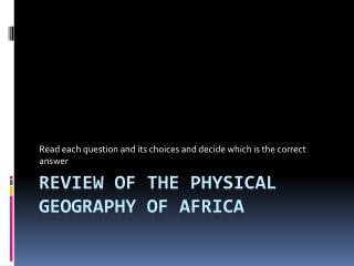 Review of the Physical Geography of Africa