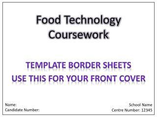 Food Technology Coursework