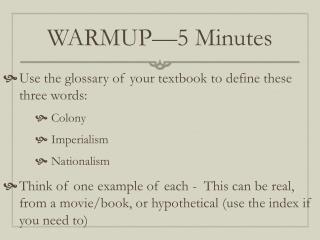 WARMUP —5 Minutes