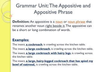Grammar Unit: The Appositive and Appositive Phrase