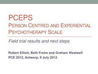 PCEPS Person Centred and Experiential Psychotherapy Scale