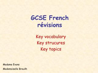 GCSE French révisions
