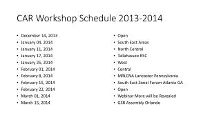 CAR Workshop Schedule 2013-2014