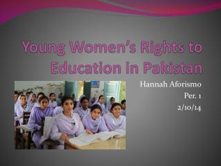 Young Women's Rights to Education in Pakistan