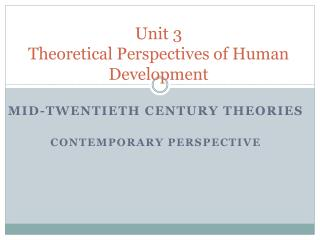 Unit 3 Theoretical Perspectives of Human Development