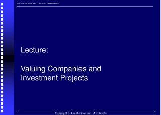 Lecture:  Valuing Companies and Investment Projects