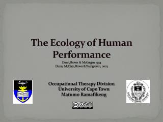 Occupational Therapy Division University of Cape Town Matumo Ramafikeng
