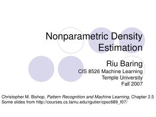 Nonparametric Density Estimation