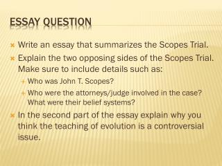 ppt the scopes monkey trial powerpoint presentation id  essay question