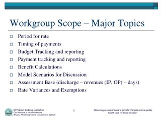 Workgroup Scope – Major Topics
