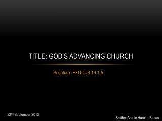 Title: God's Advancing Church