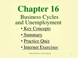 Chapter 16 Business Cycles and Unemployment