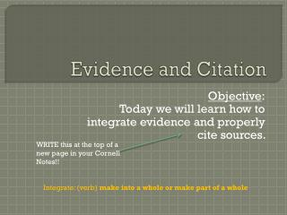 Evidence and Citation