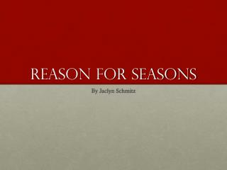 Reason for seasons