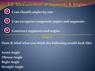 1.2: Measurement of Segments & Angles