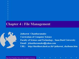Chapter 4 :  File  Management