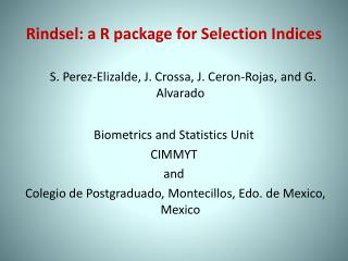 Rindsel : a R package for Selection Indices