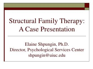 Structural Family Therapy: A Case Presentation  Elaine Shpungin, Ph.D. Director, Psychological Services Center shpunginu