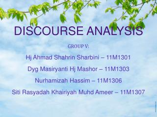 DISCOURSE ANALYSIS