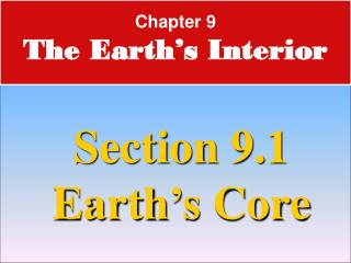 Chapter 9 The Earth's Interior