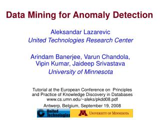 Data Mining for Anomaly Detection