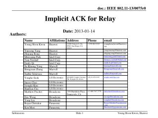 Implicit ACK for Relay