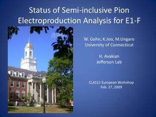 Status of Semi-inclusive  Pion Electroproduction  Analysis for E1-F