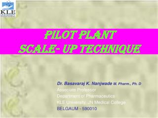 PILOT PLANT  SCALE- UP TECHNIQUE