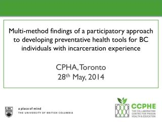 Overview of CCPHE projects