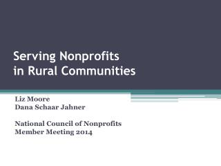 Serving Nonprofits  in  Rural  Communities