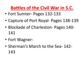 Battles of the Civil War in  S.C.