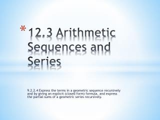 12.3 Arithmetic Sequences and Series