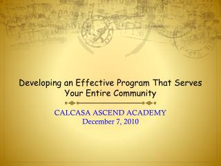 Developing an Effective Program That Serves Your Entire Community