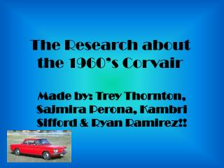 The Research about the 1960's Corvair