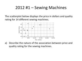 2012 #1 – Sewing Machines