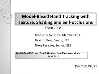 Model-Based Hand Tracking with Texture, Shading and Self-occlusions