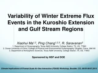 Variability of Winter Extreme Flux Events in  the  Kuroshio Extension  and Gulf Stream  Regions