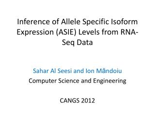 Inference of Allele Specific Isoform Expression (ASIE) Levels from RNA- Seq  Data