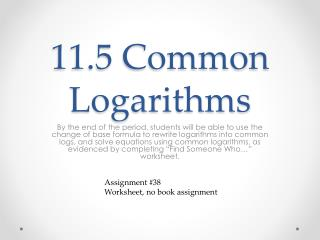 11.5 Common Logarithms
