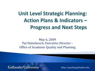 Unit Level Strategic Planning:  Action Plans & Indicators – Progress and Next Steps