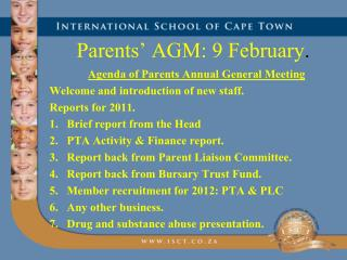 Parents' AGM: 9 February .