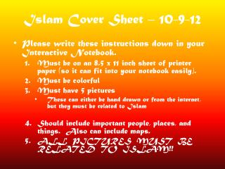 Islam Cover  Sheet – 10-9-12