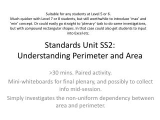 Standards Unit SS2: Understanding Perimeter and Area