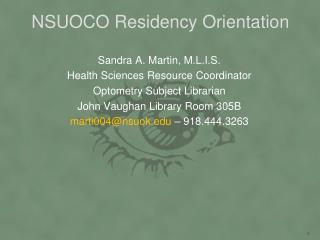 NSUOCO Residency Orientation