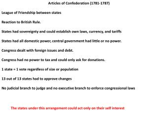 Articles of Confederation (1781-1787) League of Friendship between states