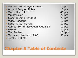 Chapter 8 Table of Contents