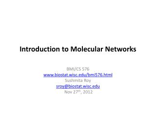 Introduction to Molecular  Networks