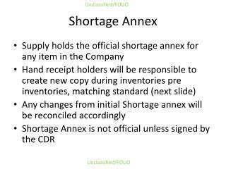Shortage Annex