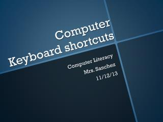 Computer Keyboard shortcuts