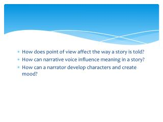 How does point of view affect the way a story is told?